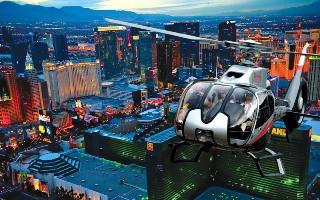 Let nad nočním Las Vegas